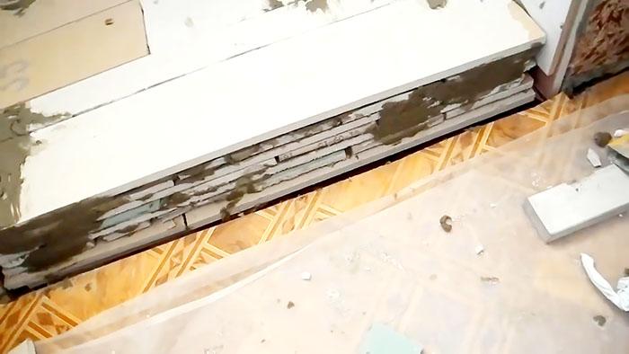 Как быстро и надежно сделать порог на балкон из остатков гипсокартона и плитки Самоделки