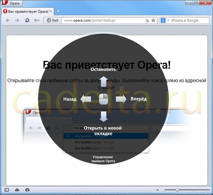 Управління жестами в браузері Опера