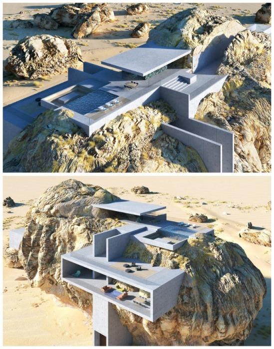 «Дом внутри скалы»: переплетение древнейшей скальной породы и современного бетона Амей Кандалгаонкар,архитектура,Необычные дома мира